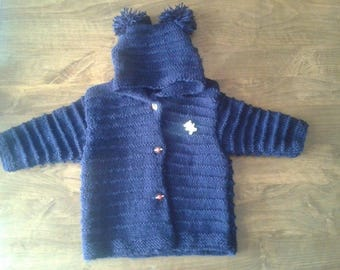 Blue hooded jacket Navy 3 to 6 months