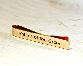 Father of the Groom Bronze Tie Clip - Custom and Handstamped  Tie Bar TB951