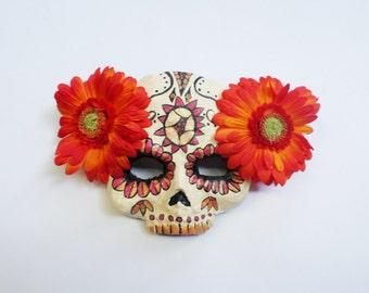 Day of the dead mask, calaca, Dia de los Muertos,skull, paper mache, wearable