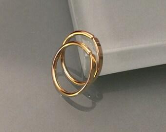18k hoop earrings, 18k yellow gold hoop earrings, 18k circle earrings, 18k cartilage earrings, 18k nose hoops, 18k tragus earrings