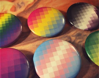Pixel Pride Flag Buttons - Choose any LGBTQ+ flag!