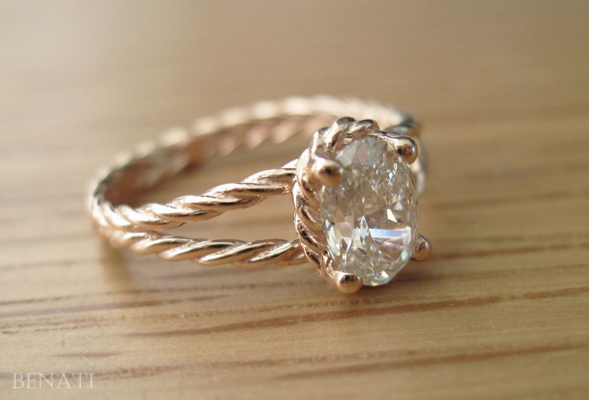 Diamond Twisted Rope Engagement ring Oval Diamond Engagement