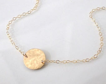 Single Circle Station Necklace - Small Hammered Yellow Gold Filled, Rose Gold Filled, Sterling Silver, or Two Tone - Femme