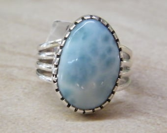 Sterling Silver Larimar Ring Size 7 1/4 Stan Tibbetts