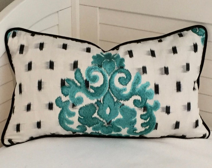 FREE SHIPPING, Kadi in Turquoise with Black Velvet Piping Designer 14x24 Pillow Cover , Manuel Canovas fabric, with or without pillow insert