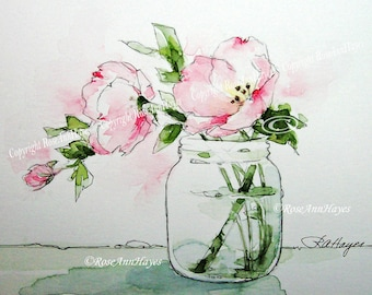Watercolor Painting Pink Evening Primrose Print Wildflower Flower Floral Bouquet