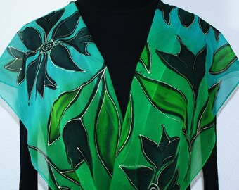 Silk Scarf Green Teal Hand Painted Handmade Chiffon Shawl ROMANTIC FOREST, Silk Scarves Colorado. Select Your SIZE! Birthday, Christmas Gift