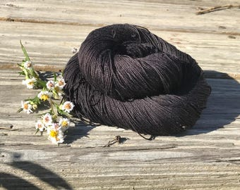 100% Mulberry Silk Lace & Sport Yarn Hand dyed Black (Cone or Hank)