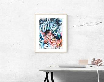 Zebra Galaxy Watercolor Painting Fine Art Print