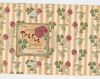 Old 1930's SAVON Au TREFLE PARIS Soap Label