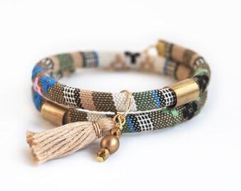 Bohemian wrap bracelet, tassel wrap bracelet with ethnic cord, beige hippie bracelet, cord bracelet