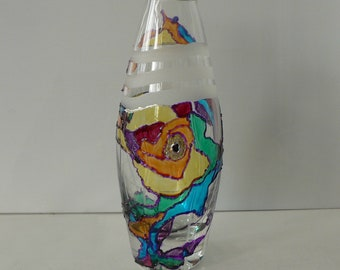 """Hand painted glass vase  """"Colorful drop"""",  Glass art, Stained Glass effect"""
