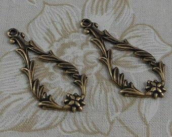 LuxeOrnaments Oxidized Brass Filigree Floral Drop Pendant (2 pcs) 34x16mm S-5051-B