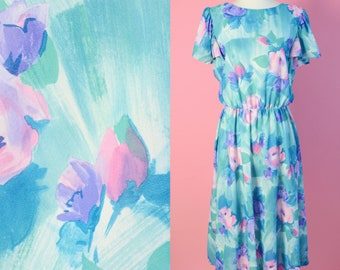 Vintage 70s Watercolor Floral Dress // 1970s, Day Dress, Green, Purple, Pink Flowers, Women Size Medium