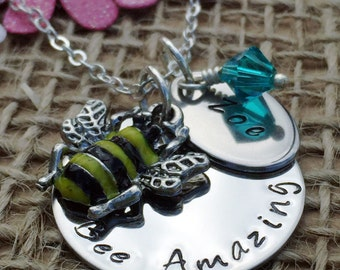 Personalised Birthday Gift, Bee Keeper Gift, Handmade Bee Necklace, Personalised Jewellery, Personalised Gift for Women, Mother's Day Gift