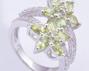 Peridot ring,Handmade ring,925 sterling silver ring,Gemstone ring,silver ring