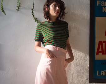 80's Cotton Pastel Pink Midi Skirt, Baby Pink High Waist Office Pencil Skirt