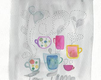 Tea cup illustration, Tea time watercolor, Time for tea poster, Kitchen decor, Tea wall art, Tea cup art, Kitchen art, Tea lover, Tea mug