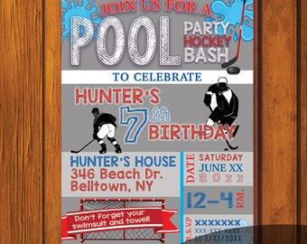 Birthday Invitation / Boy's Birthday / Digital Download / Young Man / Hockey Party / Hockey / Birthday Party / Pool Party