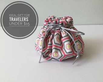 Travel Jewelry Bag, Jewelry Drawstring, Gifts for Her, Fabric Jewelry Bag, Jewelry Pouch, Birthday Gift, Bridal Shower, Hostess Gift, Travel