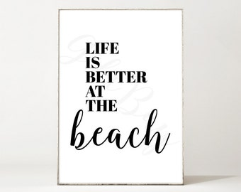 BEACH Printable Digital Art Instant Download Typography Print Quote travel happiness enjoy personal use
