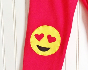 Heart Emoji. Girls Leggings. Emoji Leggings. Girls Emoji Leggings. Heart Eyes Emoji. Toddler leggings. Emoticon Leggings. Girl Gift