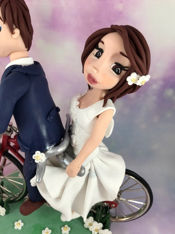 Fully personalised clay Wedding/anniversary Cake Topper cycling/bike/tandem - highly detailed and fully sculpted Keepsake -Bespoke premium s