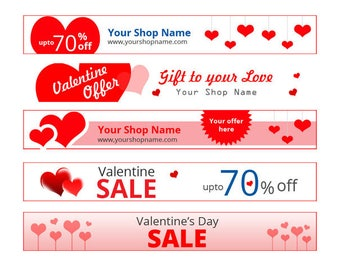 Valentine Sale Banner set  with custom