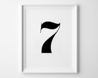 Number Seven Print, Wall Art Decor, Typography Art, Black and White Poster, Modern Home Decor Item, Numbers