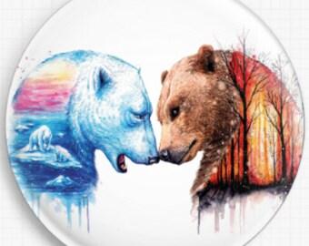 Polar Bear Needle Minder, Licensed Art, Bear Minder, 'We're In This Together', Cross Stitch Keeper, Fridge Magnet, Jojoes Art, Scandy Girl