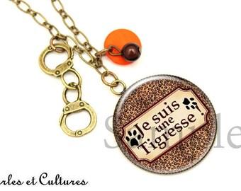 Necklace cabochon I'm a tiger Leopard print ღ ღ footprints black orange brown cuffs