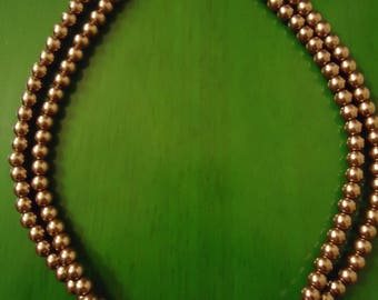 Vintage 1980s Taupe Double Strand Beaded Necklace