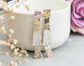 Silver, dangle earrings large hammered silver long earrings