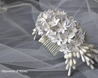Flower hair comb,  bridal headpiece