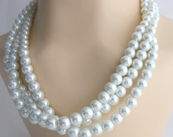 White Pearl Necklace,White Pearl Multi Strand Statement Necklace Birdal Pearl NecklaceWedding Necklace,Bridesmaid Necklace Free Shipping USA