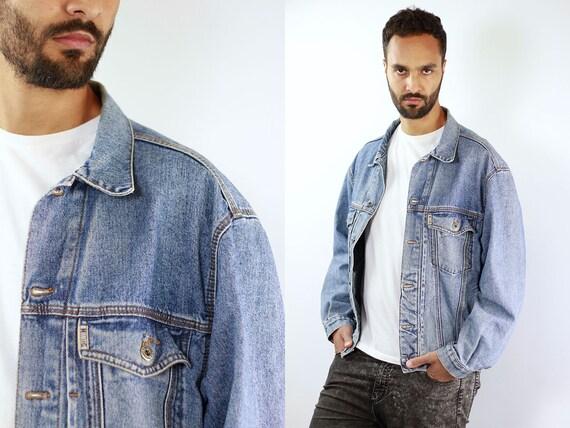 Denim Jacket Vintage Denim Jacket Oversize Jean Jacket 90s Denim Jacket 90s Jean Jacket Dark Blue Jean Jacket Large Denim Jacket Grunge