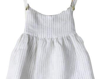 Pin stripe white linen top