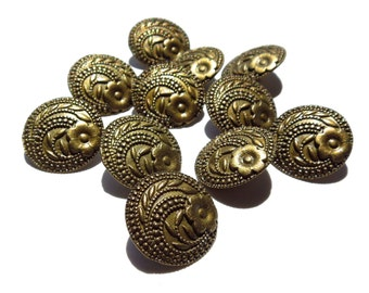 SUPPLY: 14 Antiqued Gold Metal Buttons - Flower Metal Buttons 17-B6