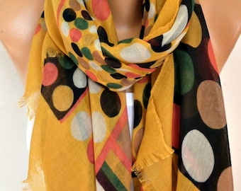 Mustard Polka Dot Cotton Scarf Shawl Spring Summer Scarf Cowl Oversized Wrap Gift Ideas For Her Women Fashion Accessories,Teacher Gift