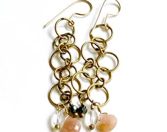 Brass Vintage Chain Bohochic Sunstone Quartz Long Dangle Earrings, for her under 50, one of a kind, US free shipping