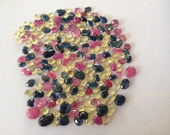 Multi Sapphire rose cut Pink Sapphire rosecut blue sapphire rosecut sapphire rose cut small sizes