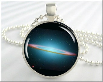 Sombrero Galaxy Charm, Space Picture Necklace, Resin Charm, Hubble Space Picture, Resin Jewelry, Round Silver, Gift Under 20 (397RS)
