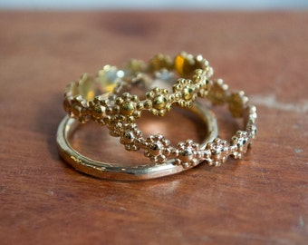 Stacking bands trio, Thin bands, hammered band, simple bands, Yellow gold three bands set, boho bands, stacking ring set of 3 - XXX R2285