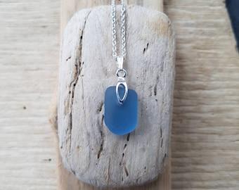 Denim blue seaglass pendant, seaglass pendant, denim jewelry, blue denim seaglass, blue glass, sterling silver, seaglass jewelry