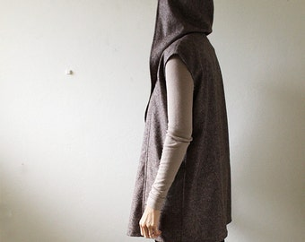 WOOL VEST with HOODIE / pure wool tweed / women / long vest / made in australia / pamelatang