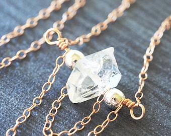 Herkimer Diamond, Herkimer Necklace, Valentines Gift for Women, Diamond Necklace, Crystal Necklace, Gemstone Necklace, Raw Crystal Necklace