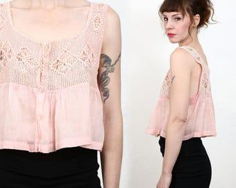 Antique Pink Top . Edwardian Blouse