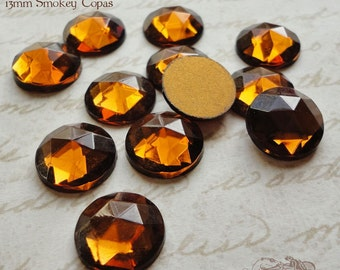 Vintage Cabochons - 13 mm Round Facet Smokey Topaz - 6 West German Faceted Glass Stones