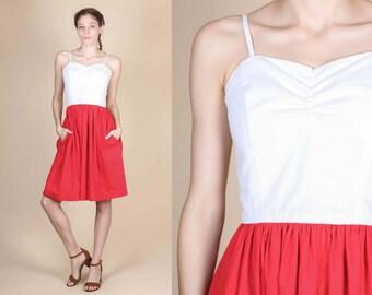 60s Two Tone Pocket Day Dress - XXS // Vintage Red & White Spaghetti Strap Mini