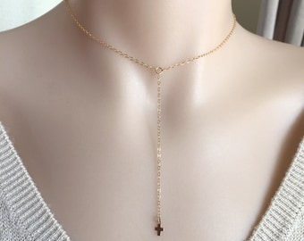 Long Dainty Cross Necklace, Choker Cross, Lariat Necklace, Everyday Necklace, Sterling Silver Cross, Gold Filled Chain, Rose Gold Necklace